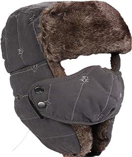 C/álido invierno Trapper Hat Sombreros de Bombardero de piel sint/ética para Hombre Sombrero ruso con Orejera y cubierta a prueba de viento Sombrero de esqu/í de nieve Sombrero de aviador Gray