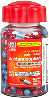 Rite Aid Extra Strength 500 mg Acetaminophen Pain Relief, Rapid Release Gelcaps - 150 Count   Pain Reliever