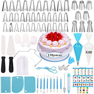 Cake Decorating Supplies Kit,170 PCS Baking Supplies Set with Icing Piping Tips & Russian Nozzles with Pattern Chart, Rotating Turntable Stand, Frosting, Piping Bags - BestMother's DayGifts