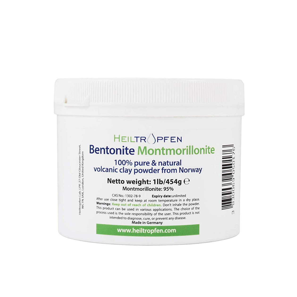 心臓モバイル腸ベントナイトモンモリロナイトパウダー、1lb-454g、ウルトラファイン、モンモリロナイト含有量:95%、天然ミネラルダスト。bentonite