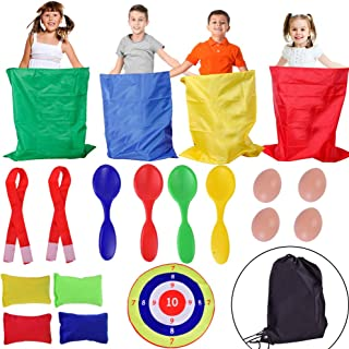 Outdoor Lawn Games Includes 4 Potato Sack Race Bags, 4 Spoons for Egg-and-Spoon Race Game, Toss Game Set with 4 Bean Bags and 2 Three-Legged Race Bands, Kids Outdoor Toys Birthday Party Games