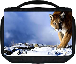 Cougar in the Snow Design TM Small Travel Sized Hanging Cosmetic/Toiletry Case with 3 Compartments and Detachable Hanger-Made in the U.S.A.