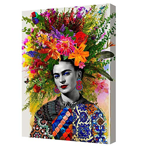 Frida Kahlo Con Flor En La Cabeza Pintura En Lienzo Obra De Arte Lista Para Colgar Póster E Imprimir En La Decoración De La Pared...