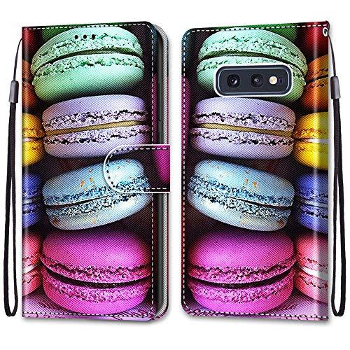 Nadoli Handyhülle Leder für Samsung Galaxy S10e,Bunt Bemalt Sandwich Kuchen Trageschlaufe Kartenfach Magnet Ständer Schutzhülle Brieftasche Ledertasche Tasche Etui