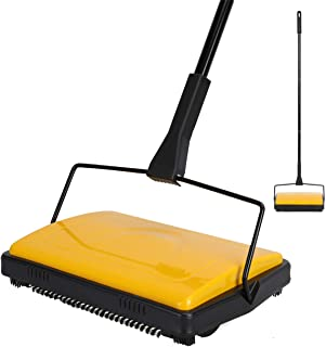 YOCADA Carpet&Floor Sweeper Easy Automatic Hand Push Bristle Brush for House Office Kitchen Hard Floor Tile Pet Hair Dust Cleaning Manual Cleaner 43inch Total Long