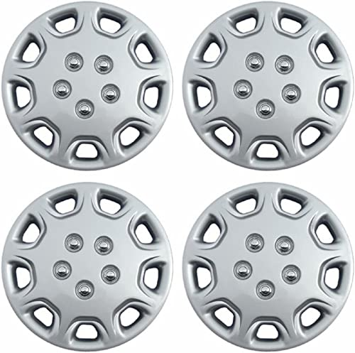 popular 14 inch Hubcaps Best for 1995-1999 Ford Contour - (Set of 4) Wheel Covers online 14in Hub Caps Silver Rim Cover popular - Car Accessories for 14 inch Wheels - Snap On Hubcap, Auto Tire Replacement Exterior Cap outlet sale