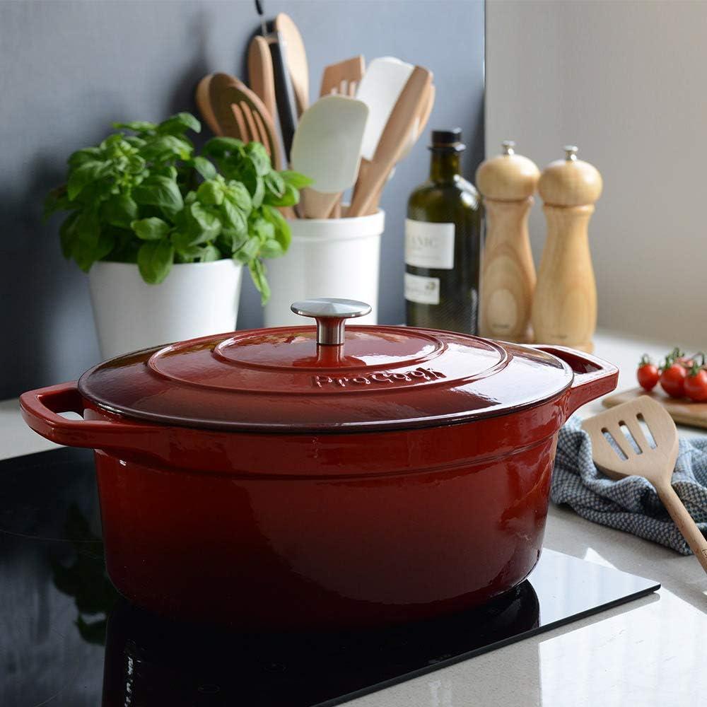 ProCook - Grande Cocotte Faitout Oval - 30cm / 6,2L - Noir Mat - Fonte Émaillée - Compatible Induction Dégradé Rouge - 30 Cm / 6,2 L