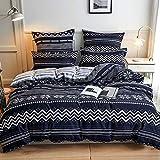 Damier Ropa de cama de 200 x 220 cm, diseño geométrico de triángulos, 3 piezas, microfibra, con cremallera y 2 fundas de almohada de 80 x 80 cm, color azul y blanco