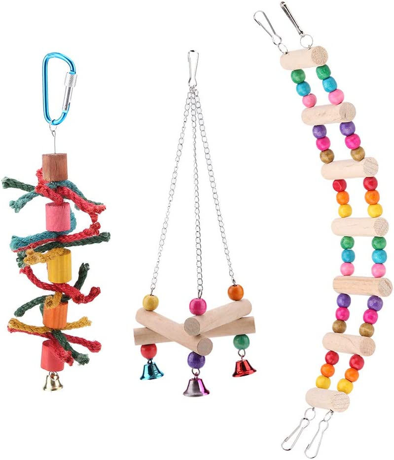KedAiKJ Bird Dealing full price reduction Parrot Toys Ladders M Max 78% OFF Made with Swing Chewing
