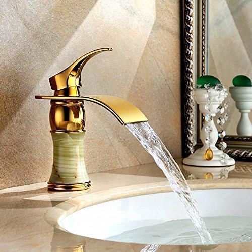 WYRSXPY Rubinetto lavabo Rubinetto del Bacino, Giada Naturale Raccordi in Ottone, Idee di Moda Desktop Cascata Cucina di Casa Bagno Rubinetto, d'oro Acqua Calda E Fredda Installazione A 3 Fori
