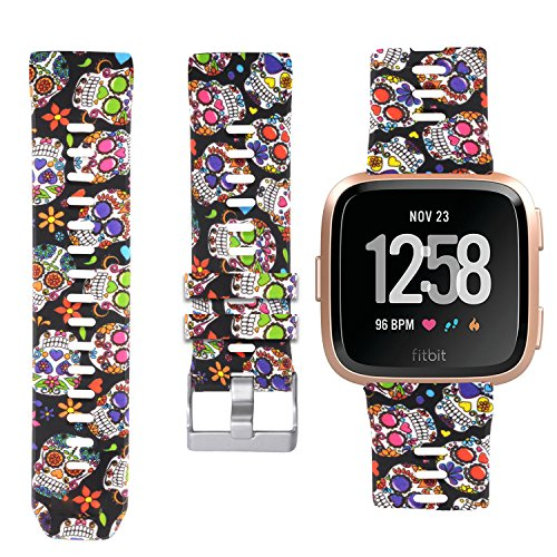 Allbingo Fitbit Versa Cute Bands,Women Men Replacement Strap Wristband for Fitbit Versa Smart Watch (Skeleton Flowers, Small)