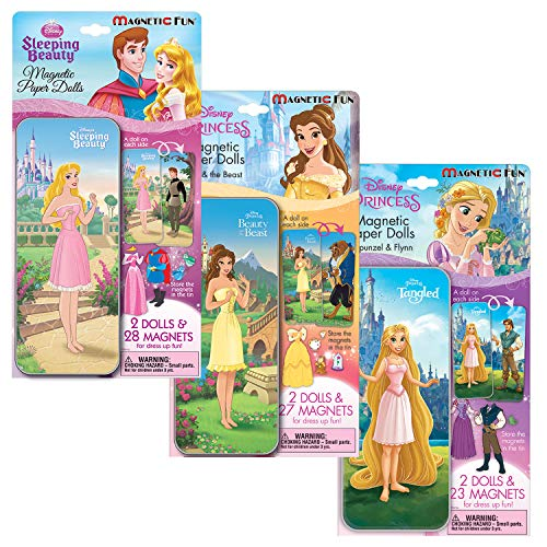 Lee Publications Disney Princess Magnetic Activity Set 3 Pack for Girls: Magnet Paperdoll Tins with Beauty and The Beast, Tangled, and Sleeping Beauty