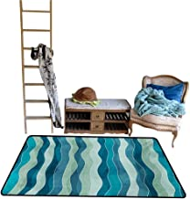 Indoor Floor mat,Wave Pattern with Grunge Effect Vertical Lines Sea Inspired Design 5'x6',Can be Used for Floor Decoration