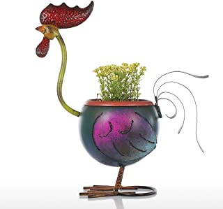 KKmoon Tooarts Rooster Flowerpot Gift Home Decoration Metal Multicolor