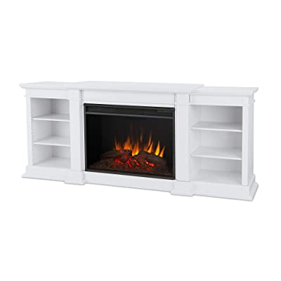 Eliot Grand Media Electric Fireplace in White by Real Flame