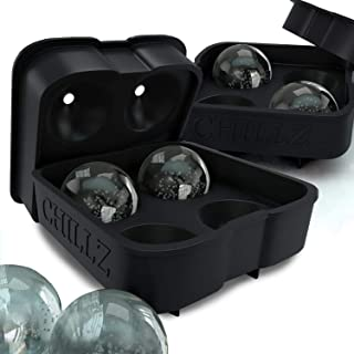 The Classic Kitchen Chillz Ice Ball Maker - 2 Black Flexible Silicone Ice Trays - Mold 8 X 4.5cm Round Ice Ball Spheres (2 Pack)