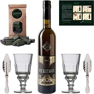 Absinth Set Heritage Verte | Premium Absinthe mit Weinalkohol destilliert | 2x Absinth-Gläser / 2x Absinth-Löffel / 1x Absinth-Zuckerwürfel | 1x 0.5 l