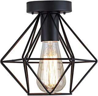 Industrial Vintage Semi Flush Mount Ceiling Light,Edison Style Metal Diamond cage Farmhouse Ceiling Pendant Hanging Chandelier for Living Room,Hallway,Aisle,Porch,Dining Room,Bedroom,Black