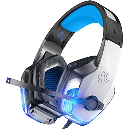 BENGOO V-4 Gaming Headset for Xbox One, PS4, PC, Controller, Noise Cancelling Over Ear Headphones with Mic, LED Light Bass Surround Soft Memory Earmuffs for PS2 Mac Xbox 360 PS5 Games