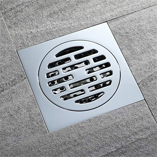 PIJN Bodenablauf Großer Fluss Badezimmer Verchromte Bodenablauf Komplette Kupfer Anti-Geruch-und Insect-Proof (Color : Metallic, Size : 100x100x41mm)