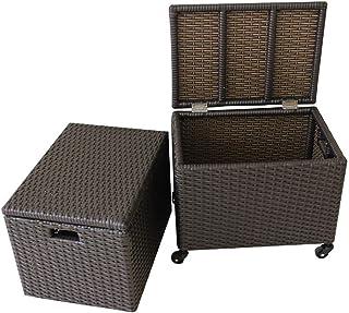حامل صندوق تخزين من YXZQ، سلة غسيل من نفس النسيج مع غطاء، صندوق تخزين مختلف للبكرة والبكرة والبني. (المقاس: 50 * 37 * 41 /...