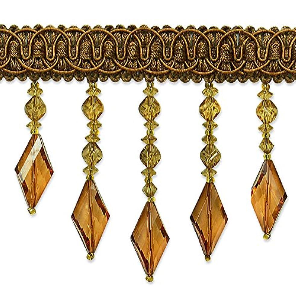 Expo International Rosalie Diamond Bead Fringe Trim Embellishment, 20-Yard, Brown