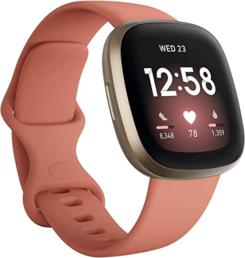 Fitbit Versa 3 Health & Fitness Smartwatch W/ Bluetooth Calls/Texts, Fast Charging, GPS, Heart Rate SpO2, 6+ Days Battery (S & L Bands, 90 Day Premium Included) International Version (Pink/Gold)