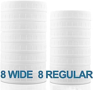 [AIRTIGHT] Aozita 16-Pack Plastic Mason Jar Lids with Sealing Rings - Plastic Storage Caps for Ball Jars and More - 8 Regu...