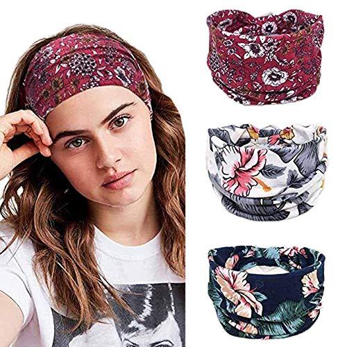 Fashband Boho Stirnbänder Breiter Blumendruck Kopfbedeckungen Haarband Mode Stirnbänder Haarschmuck Laufen Yoga Fitness Hippie Kopfwickel Böhmischer Turban für Frauen und Mädchen 3 PCs