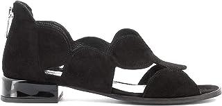 Pierfrancesco Vincenti Sandali Bassi in camoscio con Cerniera Posteriore - Scarpe Donna Made in Italy Colore Nero