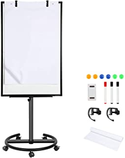 Magnetic Rolling Whiteboard Dry-Erase White-Board - 40 x 26 Inches Portable Mobile Whiteboard Flip Chart Easel Stand with ...