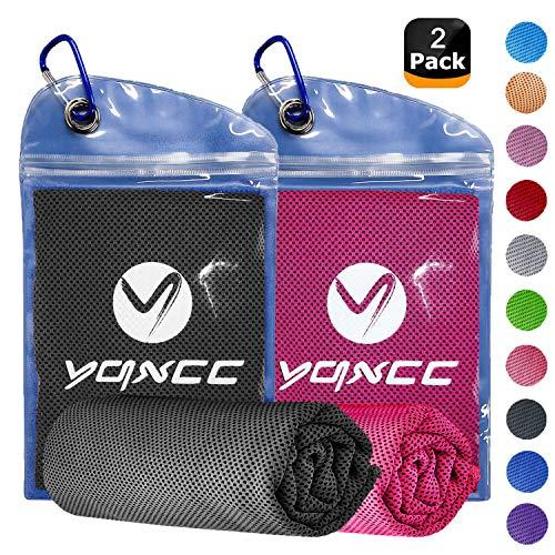 YQXCC 2er-Pack Kühlhandtuch (120 x 30 cm), Eishandtuch, Mikrofaser-Handtuch für sofortige Kühlung, kühles Handtuch für Yoga, Strand, Golf, Reisen, Sport, Schwimmen Camping, Dark Gray/Rose Red