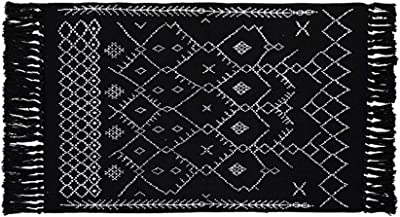 Black and White Rug with Tassels, 2X3 Cotton Area Rugs with Anti-Slip Pad, Geometric Hand-Woven Carpet Hallway Front Door Mat Doormats for Bathroom/Living Room/Dining Room/Bedroom/Outdoor Entrance
