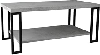 Cement Color Coffee Table Metal Frame Accent Cocktail Table with Storage Shelf