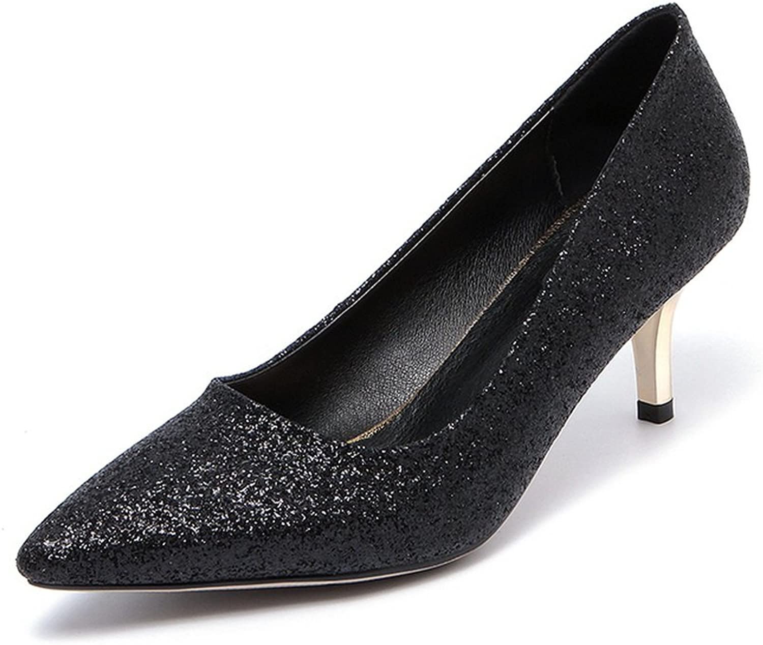1TO9 Womens Pointed-Toe Low-Cut Uppers Solid Sequin Pumps shoes MMS03823