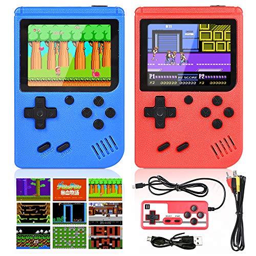 GOLDGE 2 Stück Handheld Spielekonsole 400 Klassische Spiele Retro-Videospielkonsole Unterstützt Anschließen an TV Zwei Spieler für Kinder Erwachsene