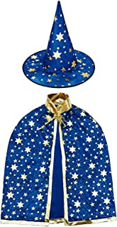 Newland Wizard Cape with Hat, Halloween Kids Costumes,Witch Cape for 3-12 Years Children,Halloween Props