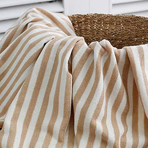 Tissu tricoté à rayures Coton Bio au mètre 154 cm de large Mr doux à rayures beige