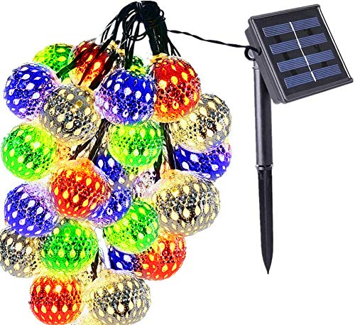 cuzile Solar Globe String Lights 20 LED LED Fairy String Lights Moroccan Ball Starry Lights Multicolor for Tree Ornaments Outdoor Decoration Fences Gardens Home Weddings Party