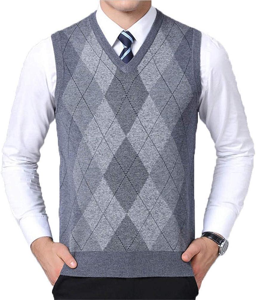 ONSEFZMZ Mens Sweater Vest Sleeveless Male Sweaters V Neck Knitted Pullover for Winter Light Gray XXXL