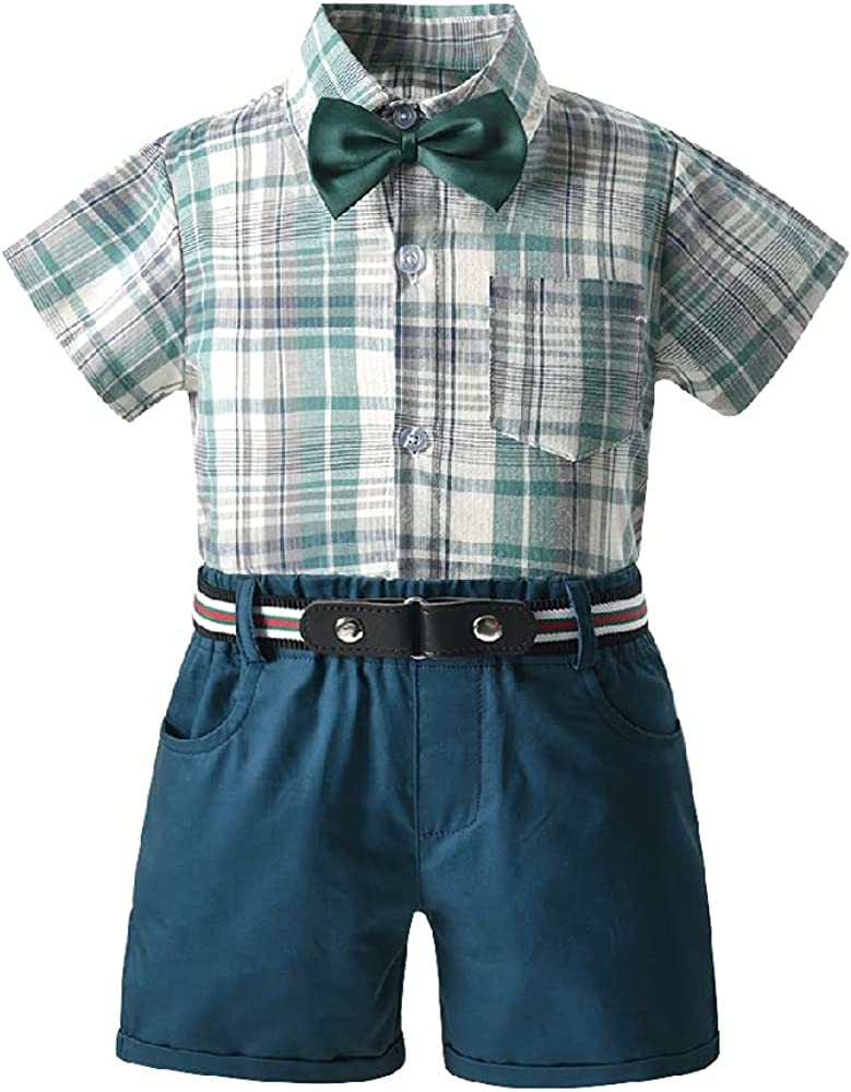 Quenny New Children's Clothing,Plaid Short-Sleeved Shirt and Gentleman bib Suit,Children's Two-Piece Suits.