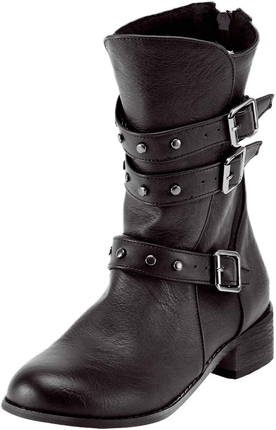 Goodtrade8 Clearance Knee High Boots for Women, Retro shoes Buckle Zip Non-Slip Round Toe Rivets Middle Tube Martin Boots