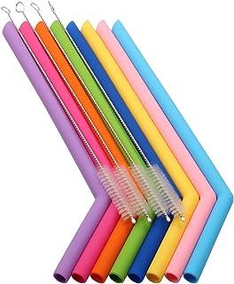 Pajitas de silicona reutilizables sin BPA, 12 piezas, extra largas, flexibles con 6 cepillos de limpieza