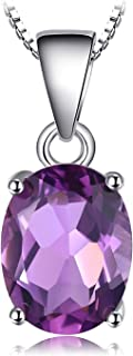 JewelryPalace Gemstones Birthstone Necklace For Women 925 Sterling Silver Solitaire Pendant Necklace For Girls Natural Amethyst Citrine Peridot Topaz Garnet Necklace Chain Box 18 Inches