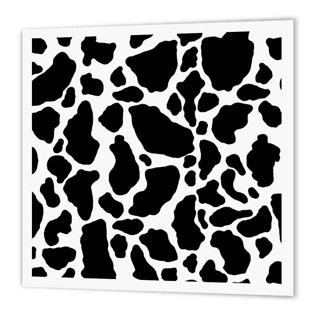 3dRose ht_15424_1 Black and White Cow Print-Iron on Heat Transfer Paper for White Material, 8 by 8-Inch