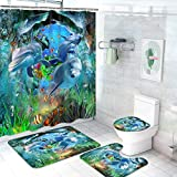 4 Pcs Dolphins Shower Curtain Sets with Non-Slip Rug, Toilet Lid Cover and Bath Mat, Underwater Fish Coral Summer Shower Curtain with 12 Hooks, Tropical Ocean Shower Curtain Sets for Bathroom…