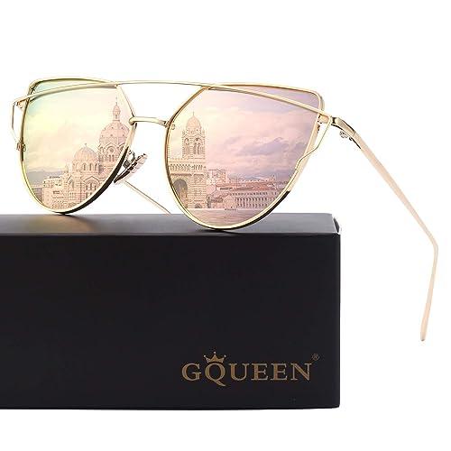 GQUEEN Lunettes de soleil Twin-Beams polarisé Oeil de Chat Fashion Mode  Classique cateye Miroir d4c420cb1019