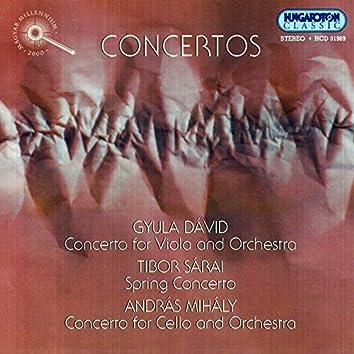 David: Viola Concerto  / Sarai: Spring Concerto / Mihaly: Cello Concerto