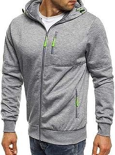 FSSE Mens Plain Casual Hoodie Athletic Running Sweatshirt Jacket Coat Outwear