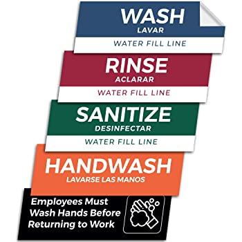 Pixelverse Design - Wash Rinse Sanitize Handwash Stickers - Great for Restaurants, Commercial Kitchens, 3 Sink Compartments - 3x9 Inches - 5 Pack Set - Includes BONUS Employee Must Wash Hands